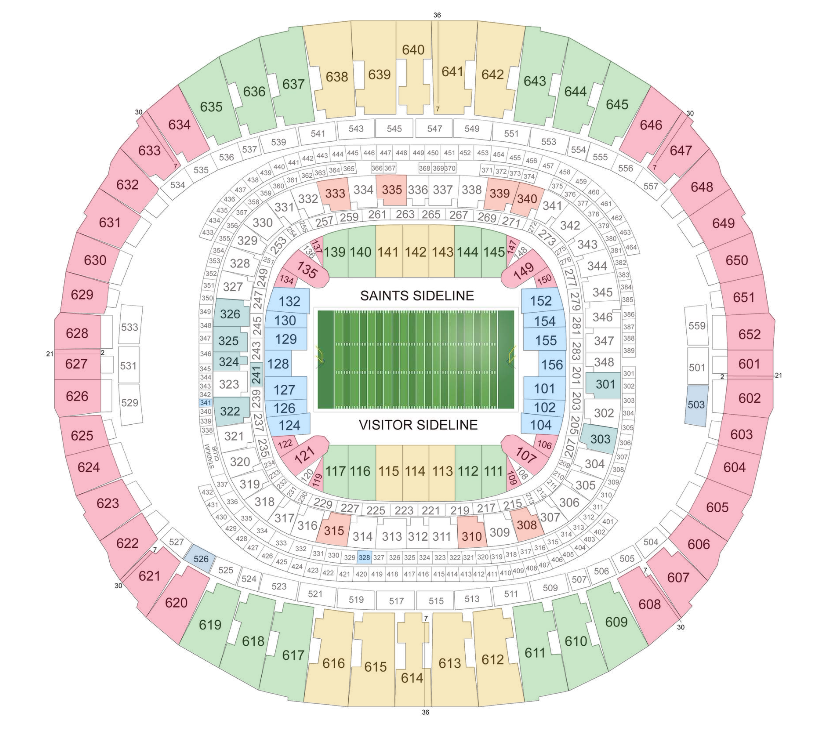 New orleans saints tickets september 09 2017 at 5 00 pm for Mercedes benz seating chart